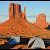 Tent Camping with the West Mitten and the East Mitten Buttes in late afternoon Sun