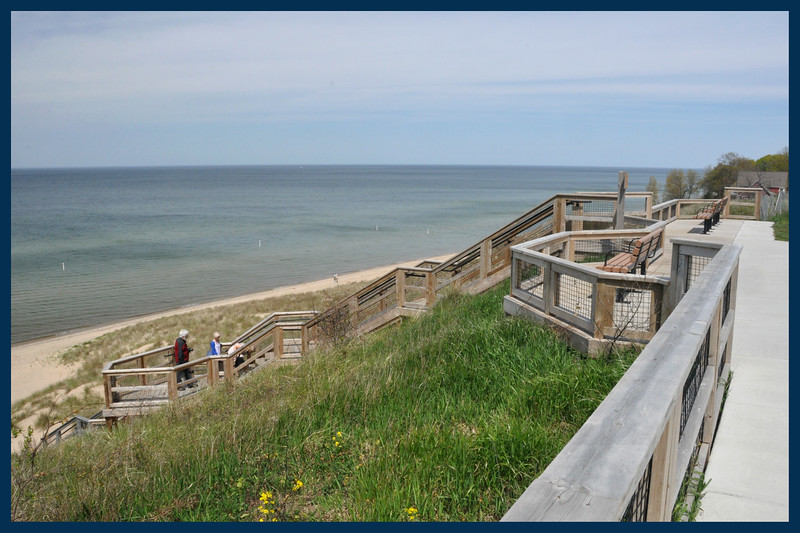 The Stairway down to the beach on Lake Michigan