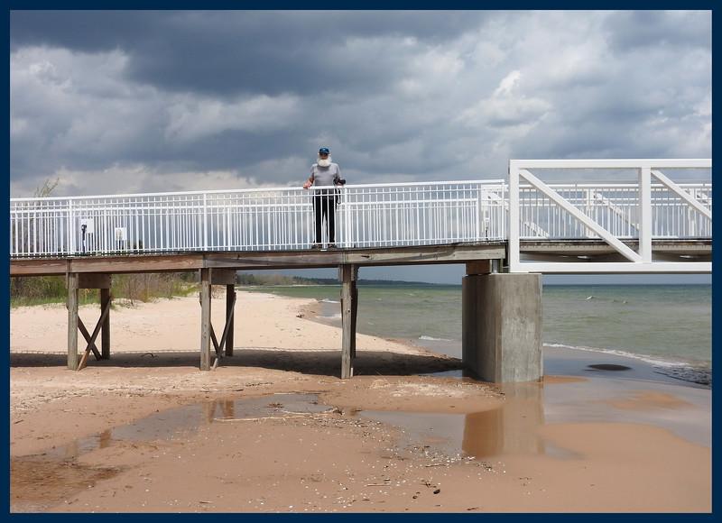 JimRob on a pier on Lake Huron (Photo by IM)