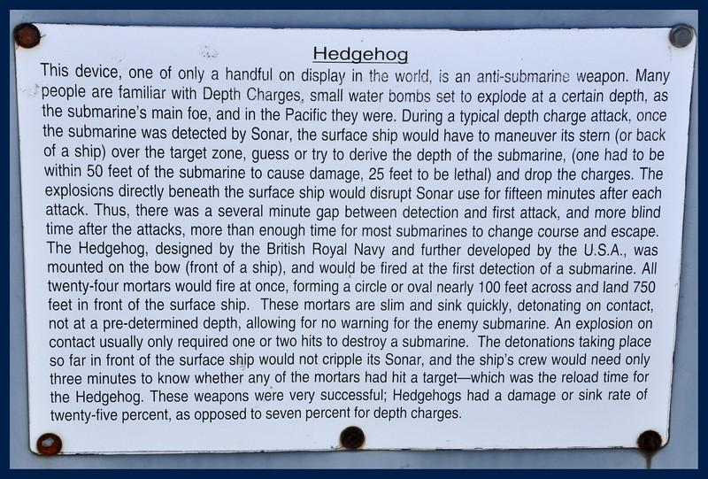 Hedgehog - an anti submarine weapon.