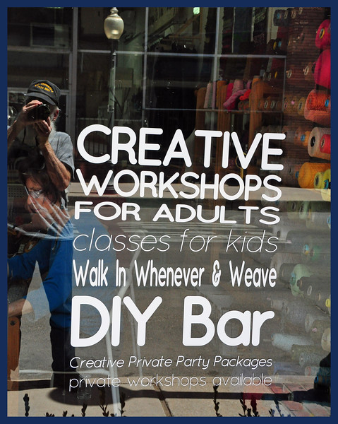 Creative workshop for adults?  Try to ignore the reflection.