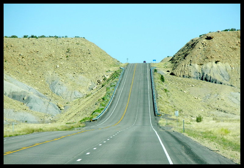 Windshield Shot of the Road up a Mesa Side on U.S. Highway 191 (Photo by IM)