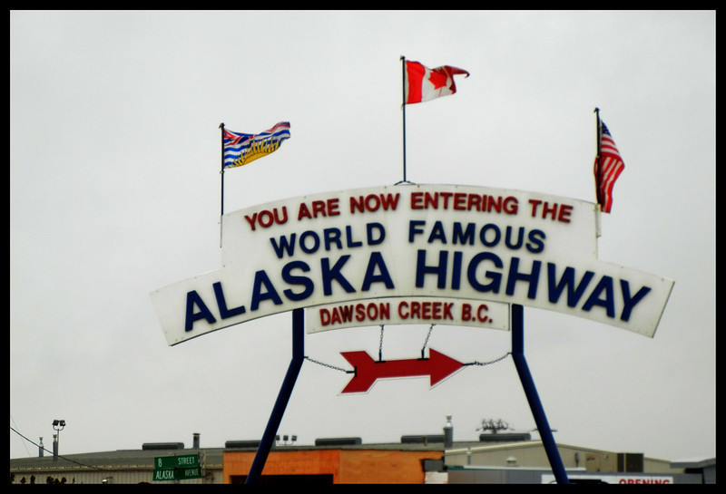 The entrance sign for the Alaska Highway