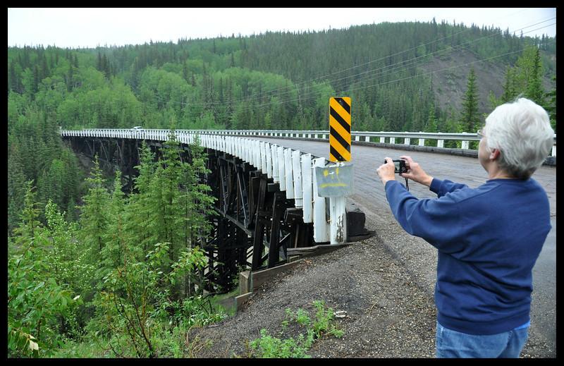IM Photographing Kiskatinaw Bridge, the only original Alaska Highway Bridge still in use