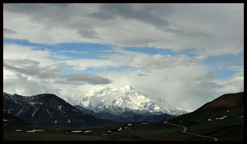 Denali (also known as Mount McKinley), or what we can see of it with the clouds