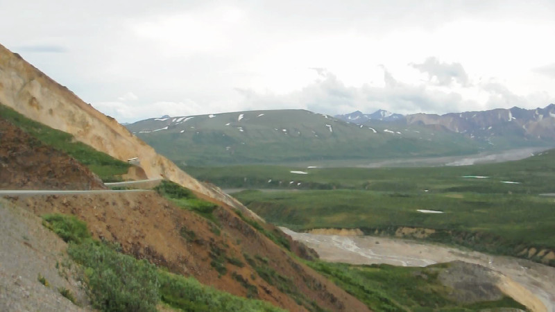 Video Clip - The road along a steep sloped mountain on the road toward Denali (the mountain),
