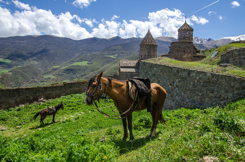 Horses graze at the Tatev Monestery, perched on a cliff in the mountains. It was once home to over 1,000 monks.