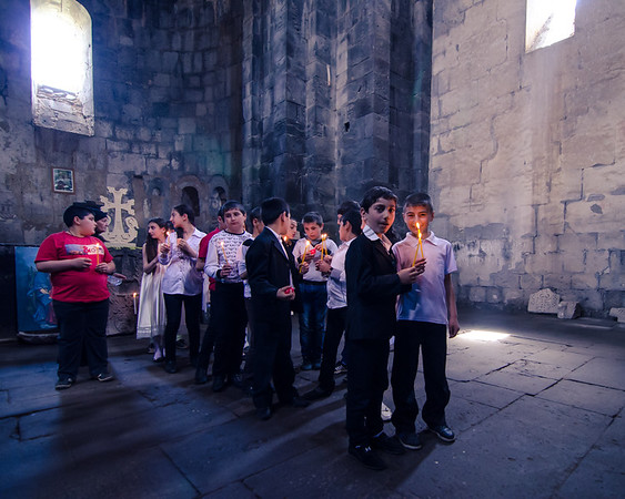Children prepare for a Easter Sunday procession at Sanahin Monastery