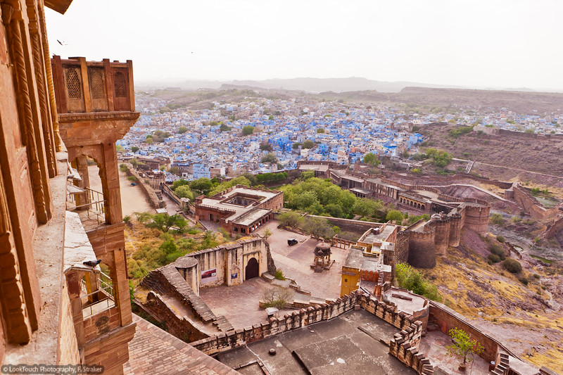 """Jodhpur view from Mehrangarh Fort<br /> Jodhpur is also named as """"the blue city"""" because of the  many blue buildings in the old town. Today anybody can have a blue house. In ancient times it was the privilege of the Brahman (clerics) caste. The indigo pigment not only coloured the paint but was also effective against insects."""