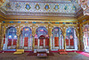 Phool Mahal (Palace of flowers)<br /> The ceiling is in glod filigree and mirror, the walls depicts the various moods of the Indian classical ragas, Royal portraits and the incarnations of Vishnu and Goddes Durga.