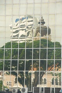 Kuala Lumpur, Malaysia. Reflections on the side of a high-rise.