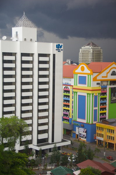 Kuching, Malaysia - the storm-front moves in over downtown.