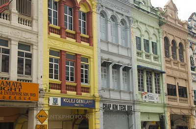 Kuala Lumpur, Malaysia. Colorful older buildings near the river.