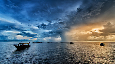 Sunset on Lake Tonlé Sap, Cambodia - 2015