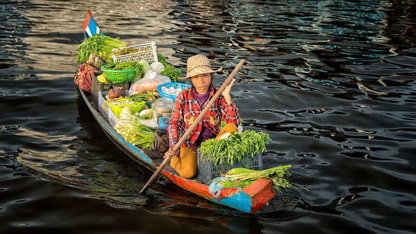 Vegetable Boat at Bakprea Village, Cambodia - 2015