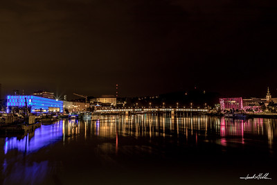 Reflections at night on Danube River