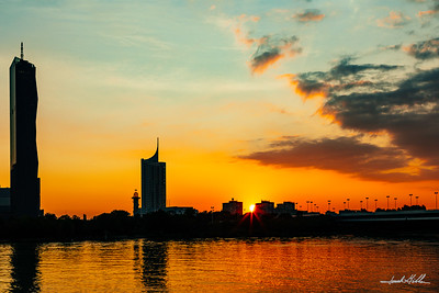 Sunrise in Vienna on Danube River