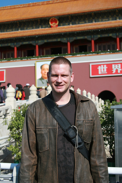 Martijn in front of Tiananmen gate to the Forbidden City, Tiananmen Square