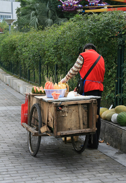 Vendor in a park near the People's Square