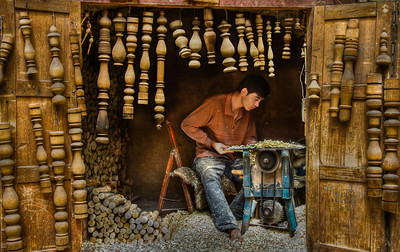 Woodworker, Kashgar, China