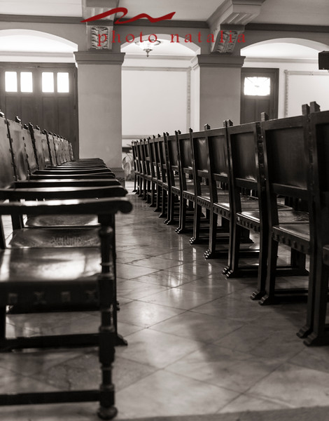 Cathedra chairs of honor in the Aula Magna in la Universidad de la Habana.
