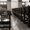 Cathedra chairs of honor in the Aula Magna in la Universidad de la Habana.