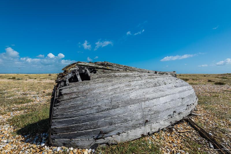 A closeup of the broken boat.
