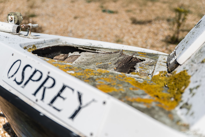 The boat Osprey: in its damaged, rusty and fungus forming on it. It definitely seems to be left here for quite some time.