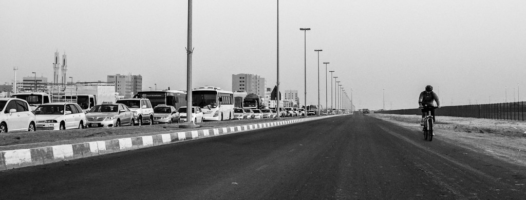 Against the Current  No bike lanes, not even sidewalks. Not a single provision to encourage any mode of transport other than fossil fuel burning vehicles. Abu Dhabi, UAE