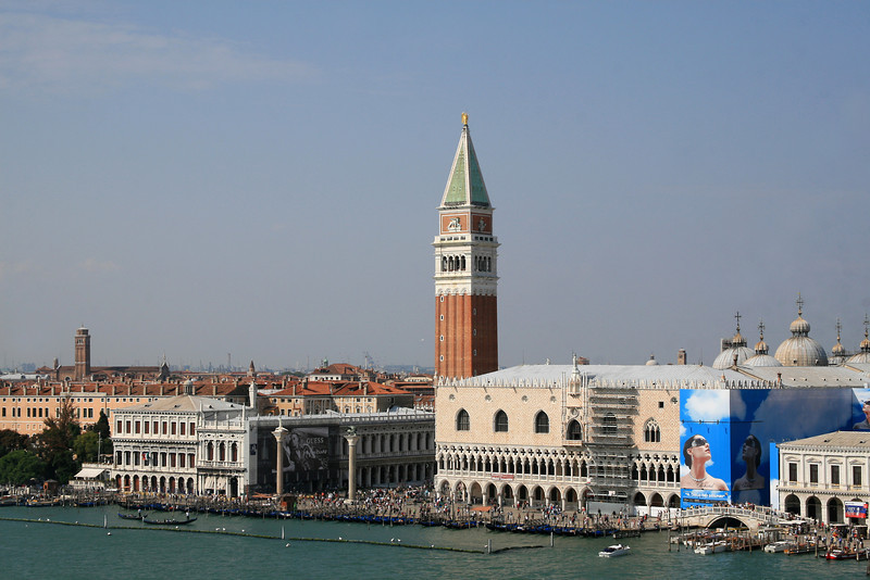 Sailing in on the Grand Canal - view of the Piazza San Marco and St. Mark's Campanile