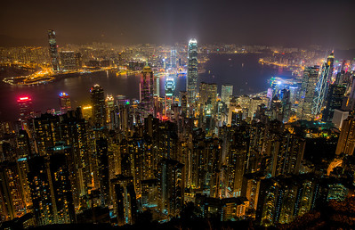 Hong Kong harbor night cityscape from Victoria Peak - 2014