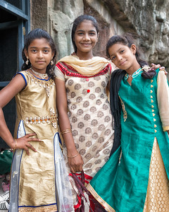 Girls at the Ajanta Cave Temples , India - 2017
