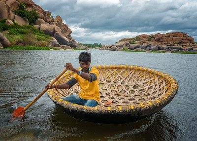 Coracle on the Tungabhadra River, Hampi, India - 2017