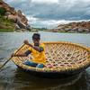 Coracle on the Tungabhadra River, Hampi, India - 2017