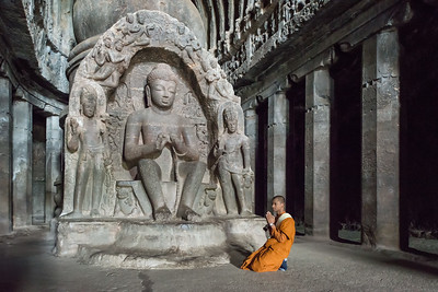 Buddhist Cave and Monk, Ellora, India - 2017