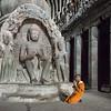 Buddhist Cave and Monk, Ellora, India - 2017
