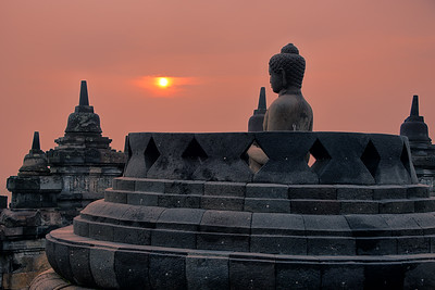 Sunrise at Borobudur, Magelang, Indonesia - 2016