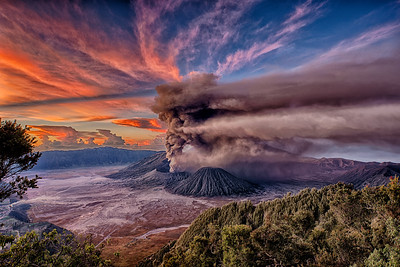 Sunrise at Mt. Bromo Eruption, East Java, Indonesia - 2016