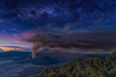 Sunrise and Stars at Mt. Bromo Eruption, East Java, Indonesia - 2016