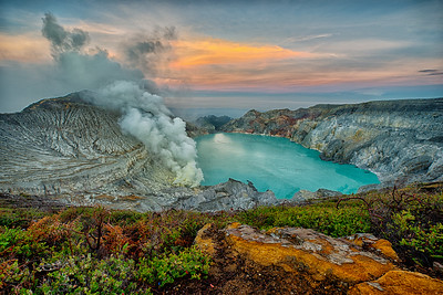 Sulfur Fumes at Sunrise, Mt. Ijen, East Java, Indonesia - 2016