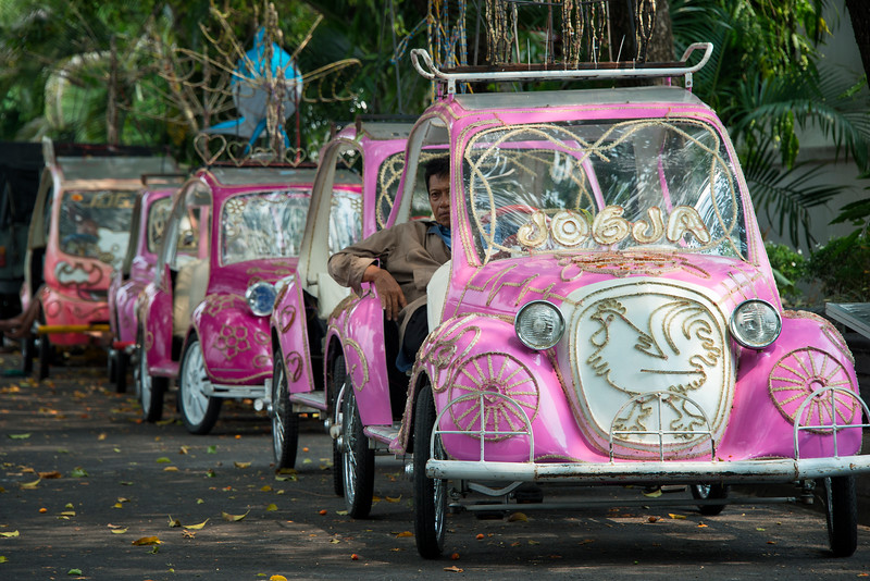 Modified Pedicabs (bicycle taxis) near the Water Palace in Yogyakarta, Indonesia - 2016