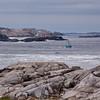 Fishing boat on a cold, rainy day at Peggy's Cove near Halifax, Nova Scotia, Canada.