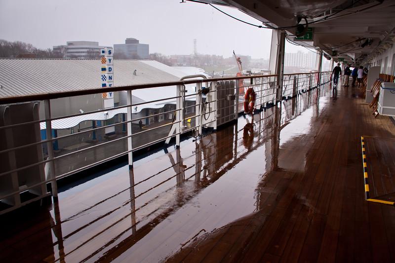 Holland America Cruise Ship Maasdam docked at Sydney, Nova Scotia, Canada, on a cold, rainy day in May.