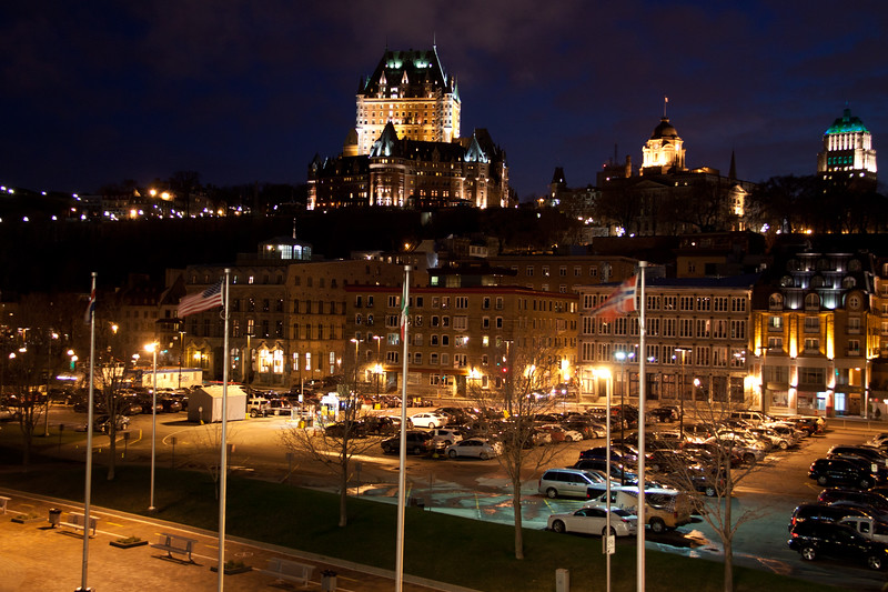 Night view of upper and lower Quebec City, Quebec, Canada, from the Cruise Ship dock. Famous hotel, Fairmont Le Château Frontenac, is visible in the upper city.