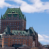 Fairmont Le Château Frontenac and view of both upper and lower Quebec City, Quebec, Canada, from cruise ship doc on St. Lawrence River in May.