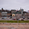 View from Cruise Ship dock of Quebec City, Quebec, Canada, on a cold, rainy day in May, on the St. Lawrence River,