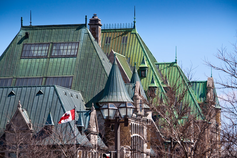 Copper roofed buildings in the Old City portion of Quebec City, Quebec, Canada.