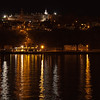 Night View of Quebec City, Quebec, Canada, from cruise ship doc on St. Lawrence River in May.