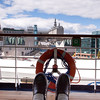 On the lower promenade deck of the Holland America Cruise Ship Maasdam docked at Quebec City, Quebec, Canada.