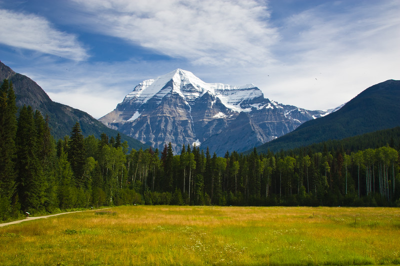 Mount Robson is the most prominent mountain in North America's Rocky Mountain range; it is also the highest point in the Canadian Rockies. The mountain is located entirely within Mount Robson Provincial Park of British Columbia, and is part of the Rainbow Range.